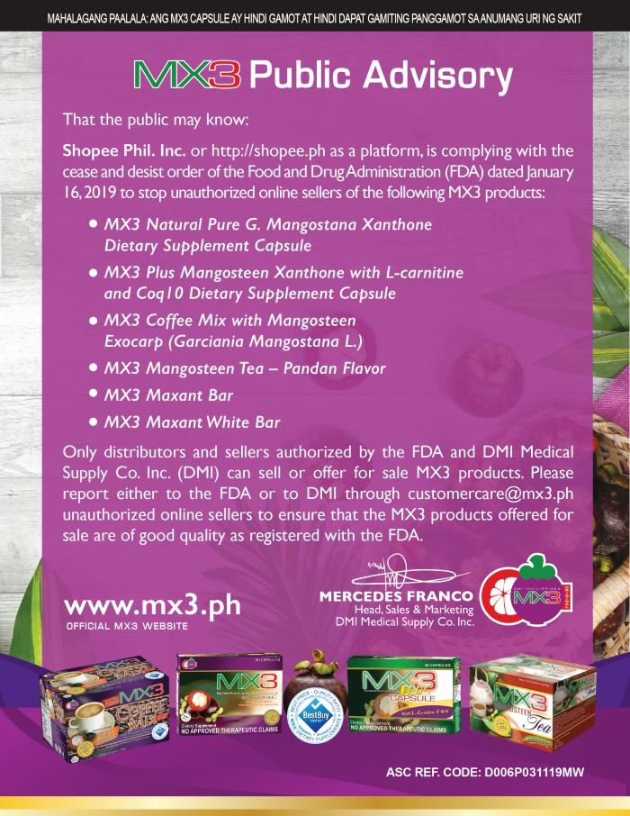 MX3 Public Advisory: Shopee