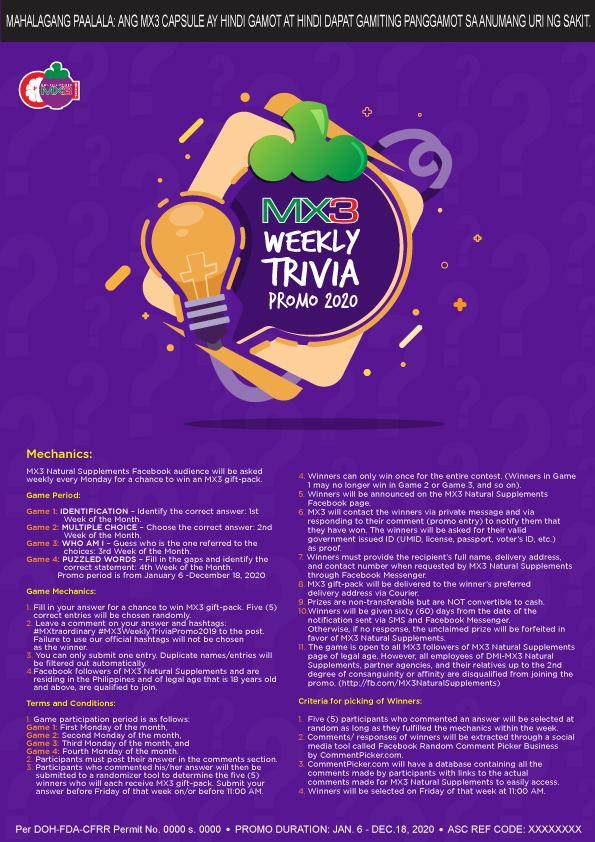 MX3 Weekly Trivia Promo 2020